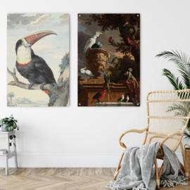 Dubbelzijdige kunst: Roodsnaveltoekan met het prachtige: Menagerie, Melchior d'Hondecoeter
