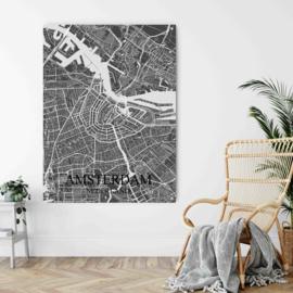 Amsterdam city map op metaal