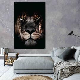 Lion op geborsteld staal, 100x65cm zonder ophangsysteem