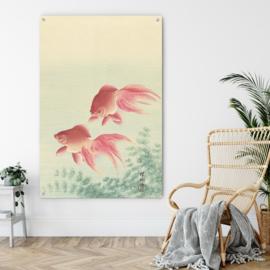 Twee sluierstaart goudvissen van Ohara Koson