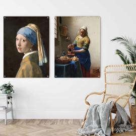 Dubbelzijdige kunst: Melkmeisje met Meisje met de parel van Vermeer 100x73cm met ophangsysteem