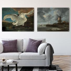 Dubbelzijdige kunst: De bedreigde zwaan met De molen bij Wijk bij Duurstede