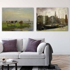Dubbelzijdige kunst: Het Damrak van George Breitner met Koeien in de wei van Bernardus van Beek