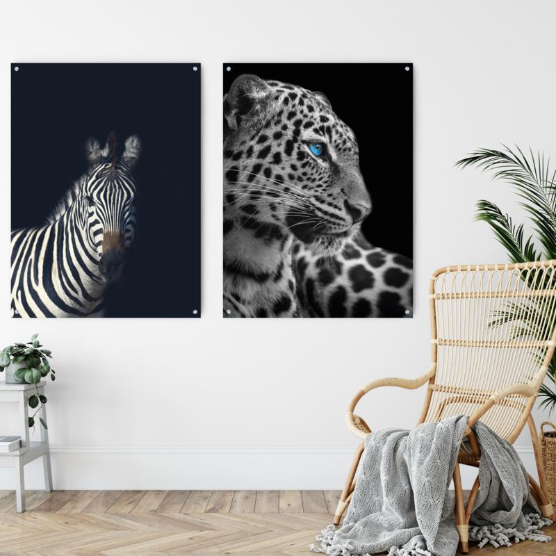 Dubbelzijdige kunst: Dark zebra met de blauwogige panter