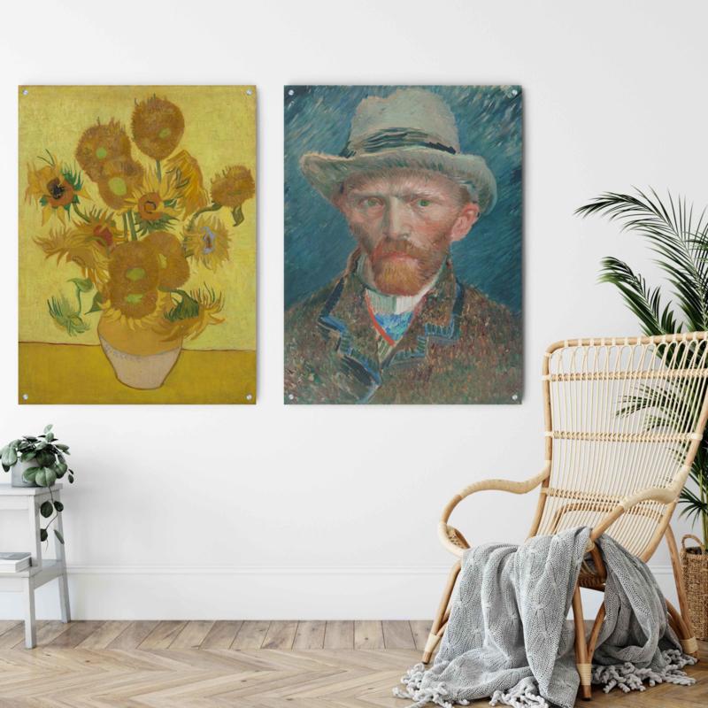 Dubbelzijdige kunst: Vincent van Gogh zonnebloemen met het Zelfportret