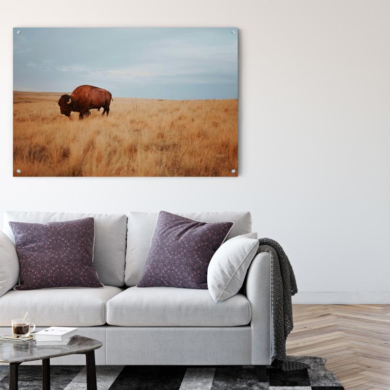 Wanddecoratie Natuurlijke Materialen.Wanddecoratie Bison Metaal Kies Je Materiaal Aluminium