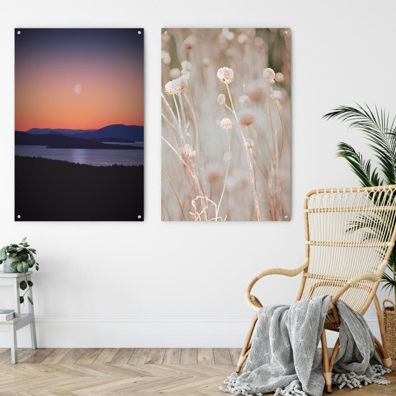 Dubbelzijdige kunst: Sunset over mountains met het Bloeiende gras