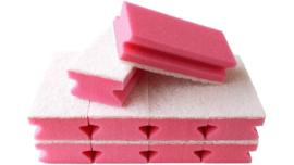 10 x Schuurspons Met Handgreep & witte Pad Roze 14,5cm