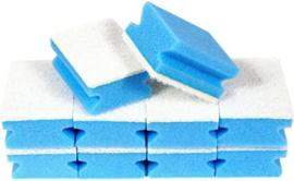 10 x Schuurspons Met Handgreep & witte Pad Blauw 14,5cm