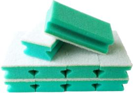 10 x Schuurspons Met Handgreep & witte Pad Groen 14,5cm