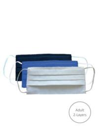 Mondmasker wasbaar, 2 laags 100% Oeko-tex katoen, wit (volwassenen)