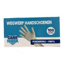 Care Mask Wegwerphandschoenen Vinyl-Poedervrij 100 stuks Maat M