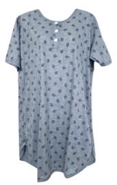 Fine woman Dames Nachthemd 6894 grijs-zwart