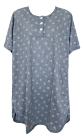 Fine woman Dames Nachthemd 6894 grijs-wit