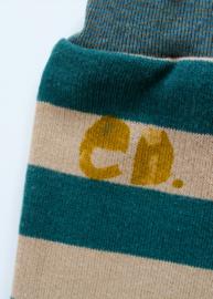 Short Smaragd Ecru streep