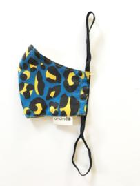 Mondkapje Blauw Leopard