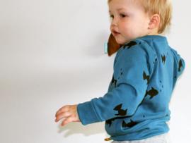 Sweater Blauw Vis zwart