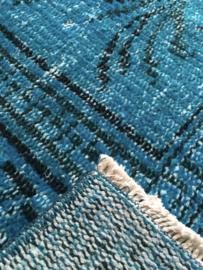 Vintage recoloured tapijt turquoise blauw Maat: 167 x 271