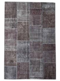 Vintage patchwork tapijt antracietgrijs Maat: 162 x 242