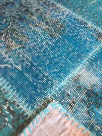 Vintage patchwork tapijt turquoise blauw Maat: 204X293