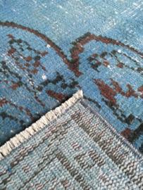 Vintage recoloured tapijt jeansblauw Maat: 154 x 253