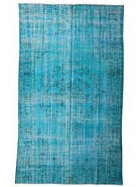 Vintage recoloured tapijt turquoise blauw Maat: 185 x 304