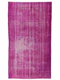 Vintage recoloured tapijt donkerroze Maat: 148 x 263