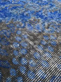 Vintage recoloured tapijt blauw/ bruin Maat: 158 x 265