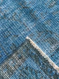 Vintage recoloured tapijt turquoise blauw Maat: 164 x 250