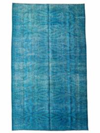 Vintage recoloured tapijt turquoise blauw Maat: 183 x 299