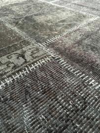 Vintage patchwork tapijt antracietgrijs Maat: 162 x 240