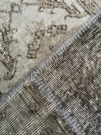 Vintage patchwork tapijt grijs/ bruin Maat: 170 x 241