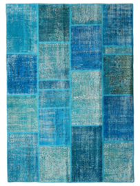 Vintage patchwork tapijt turquoise blauw Maat: 170 x 240