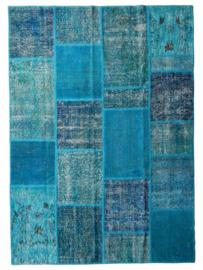 Vintage patchwork tapijt turquoise blauw Maat: 170 x 239