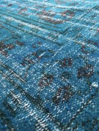 Vintage recoloured tapijt turquoise blauw Maat: 179 x 302