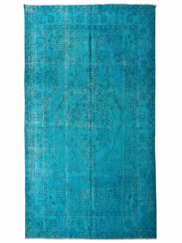 Turquoise vintage recoloured tapijt Maat: 172 x 303