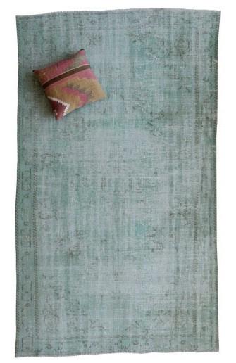 Vintage recoloured tapijt groen Maat: 164 x 278