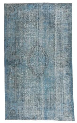 Vintage recoloured tapijt blauw Maat: 170 x 285