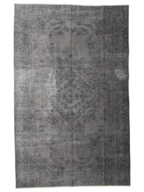 Vintage recoloured tapijt antracietgrijs Maat: 183 x 282