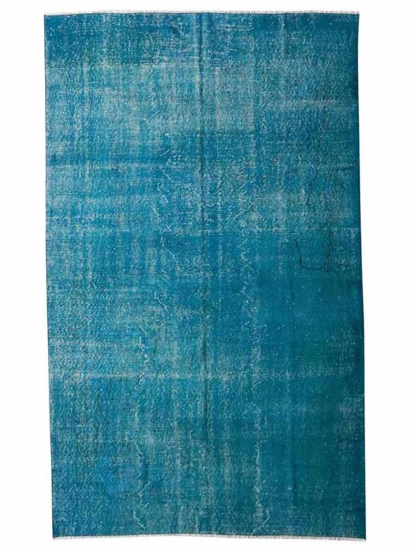 Vintage recoloured tapijt turquoise blauw Maat: 164 x 264