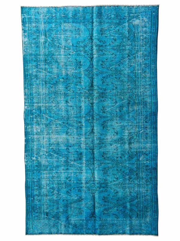 Vintage recoloured tapijt turquoise blauw Maat: 145 x 241