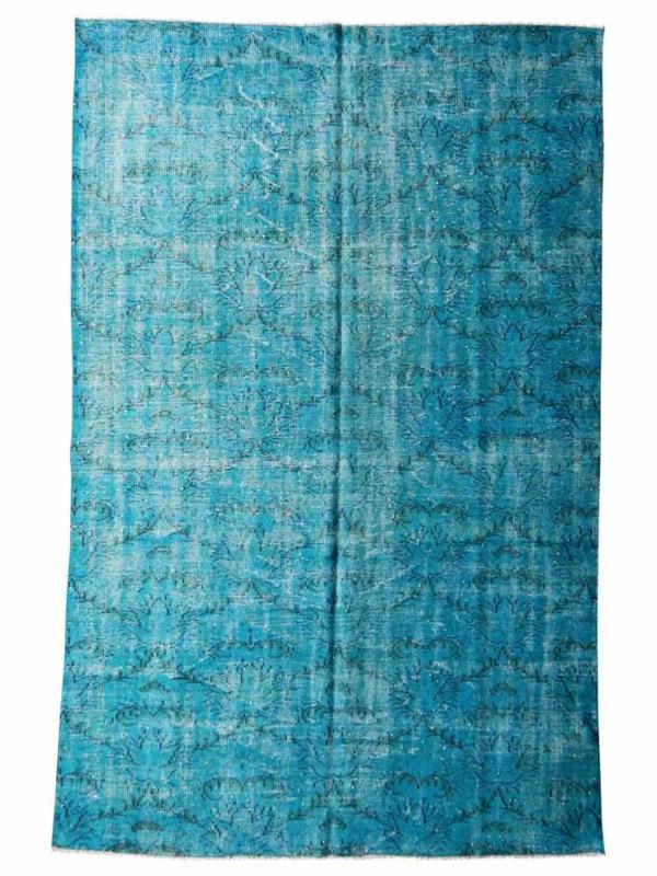 Vintage recoloured tapijt turquoise blauw Maat: 185 x 290