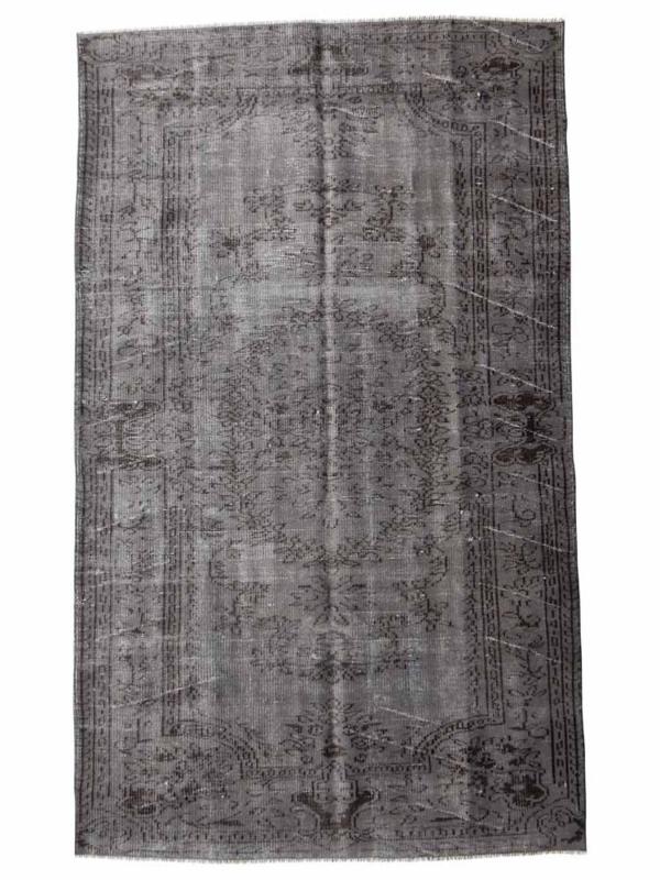 Vintage recoloured tapijt groengrijs Maat: 166 x 245