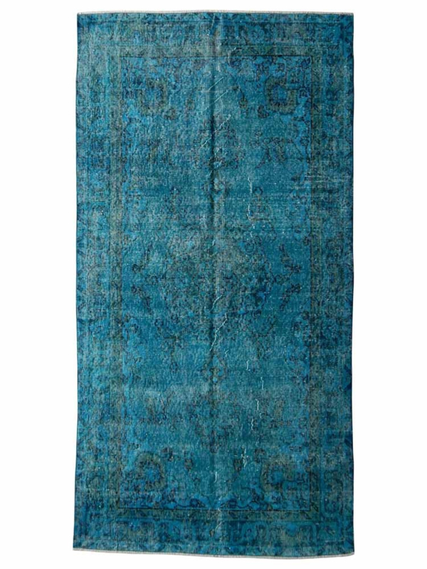 Vintage recoloured tapijt turquoise blauw Maat: 112 x 222