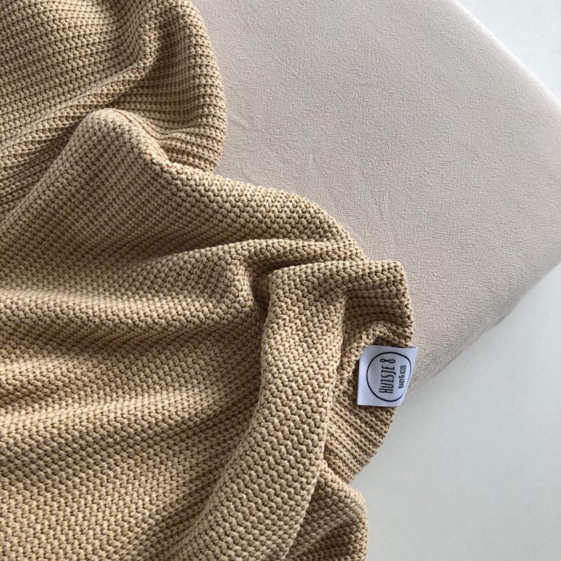 Grof gebreide deken Honing