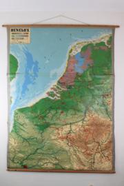 Reliëfkaart / 3D Schoolplaat Benelux