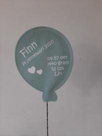 Gebaorteballon groot mintgreun (mit lempkes)