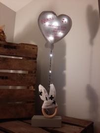 Gebaorteballon klein zilver hart (mit lempkes)