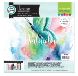 "Florence Water Color Paper 300 gram, Intense White 12 x 12"" 5 vel"