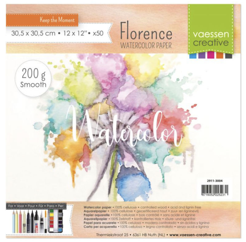 """Florence Water Color Paper 200 gram. Off-White 12 x 12"""" 50 vel (2911-3004)"""